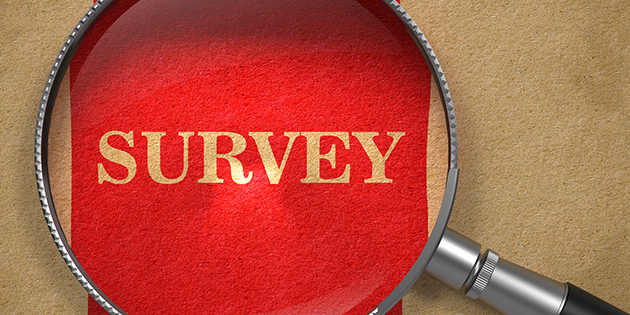 graphic with word survey under a magnifying glass