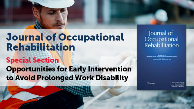 Journal of Occupational Rehabilitation Special Section